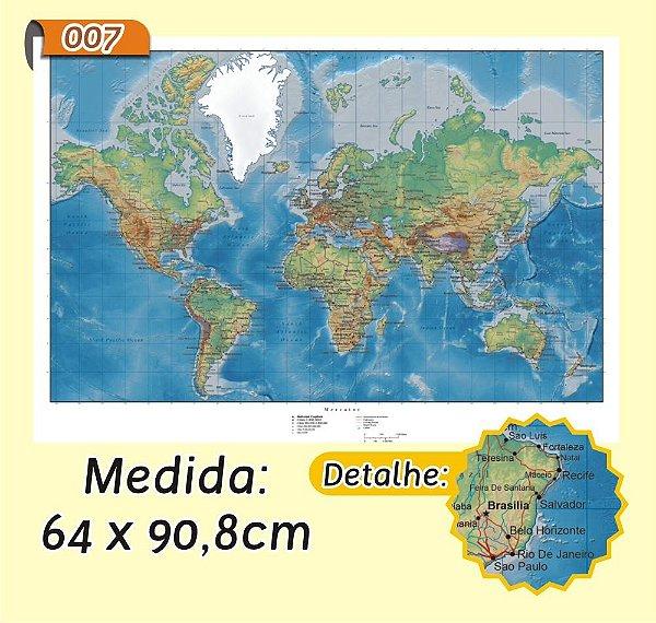 Mapa Mundi em Painel de Lona - Modelo 7