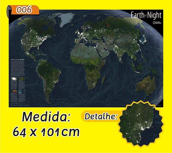 Mapa Mundi em Painel de Lona - Modelo 6