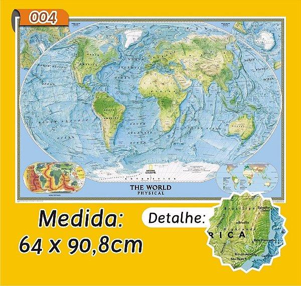 Mapa Mundi em Painel de Lona - Modelo 4