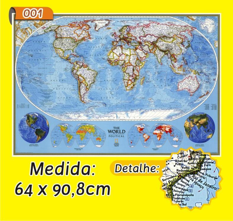 Mapa Mundi em Painel de Lona - Modelo 1