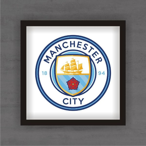 Quadro Decorativo Manchester City Com Moldura
