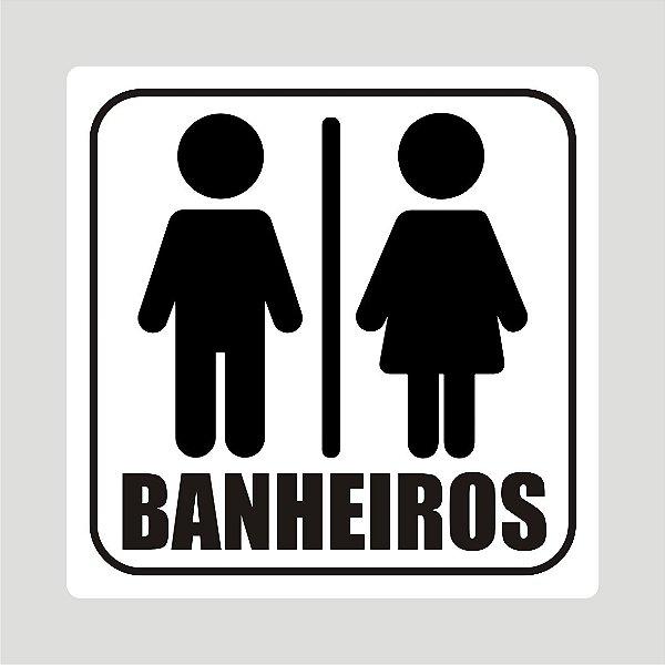 Kit 3 Placas Informativas Banheiros Feminino, Masculino e Geral