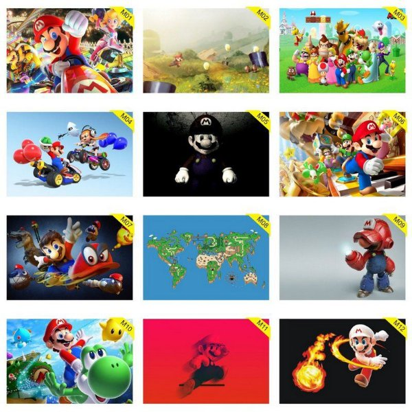 Quadros Placas Decorativas - Medida: 30 cm x 20 cm Mario World Bros
