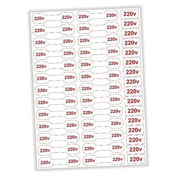 Etiqueta adesivo de voltagem 220v - tomadas e cabos