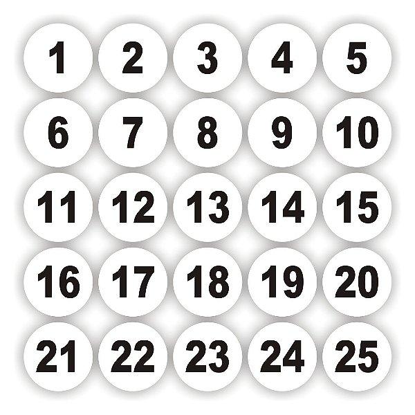 Adesivos numerados de 1 a 100 Redondo fundo branco medida 5cm