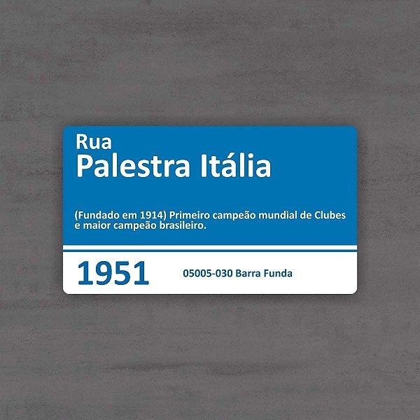 Placa de Rua Palestra Itália Palmeiras Brasil 33 x 20cm