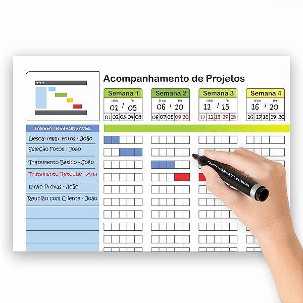 Quadro Planejamento Bimestral - Gantt - Planner - 3 Canetas.