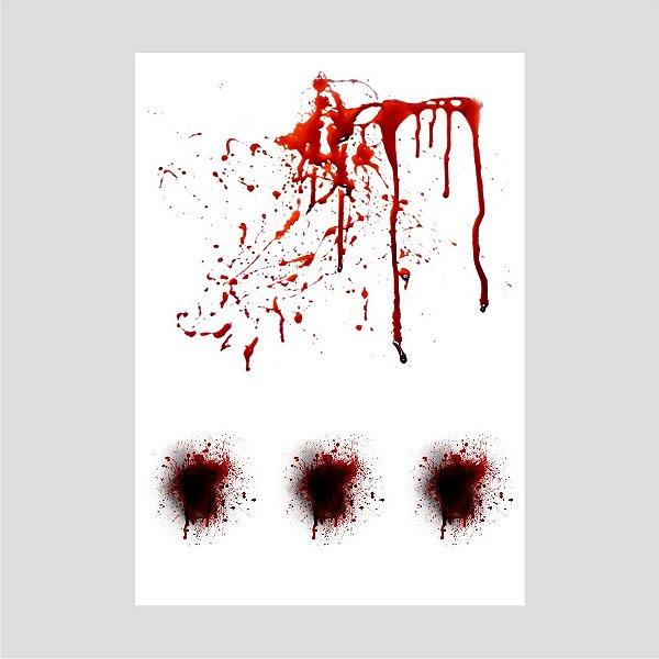 Lançamento Adesivo Halloween Mancha De Sangue A4 Mod06