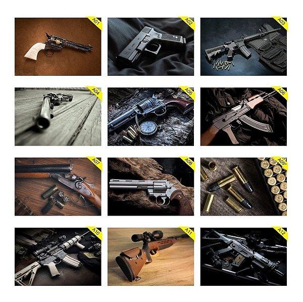 Kit 5 Placas Decorativas 30x20cm Armas Guns Gun