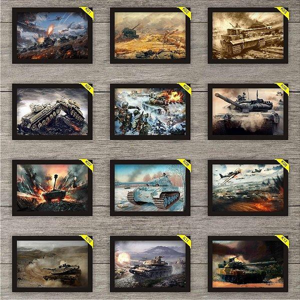 5 Placas Decorativas 30x20cm Tanques De Guerra Com Moldura