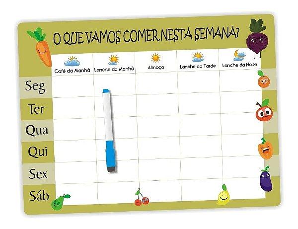 Cardápio Semanal - Planner - Dieta 2 - Ímã De Geladeira