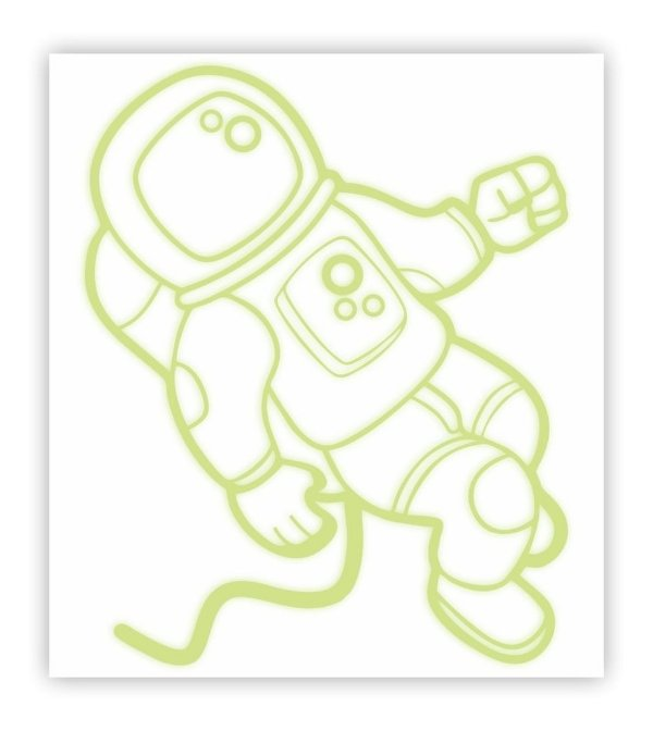 Adesivo Brilha No Escuro Astronauta 40 Cm X 44,4 Cm
