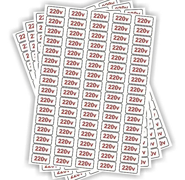 Kit 5 Cartelas Voltagem Tomada 220v - 400 Adesivos