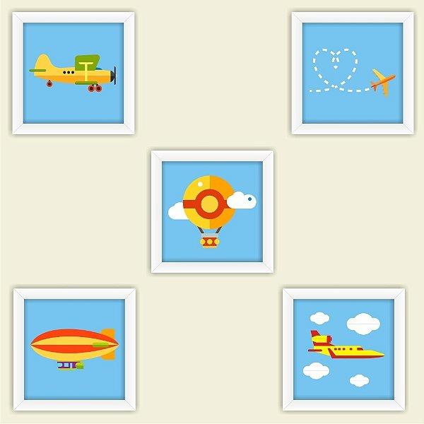 Kit 5 Quadros Infantis Bebe Crianças Com Moldura Aviões