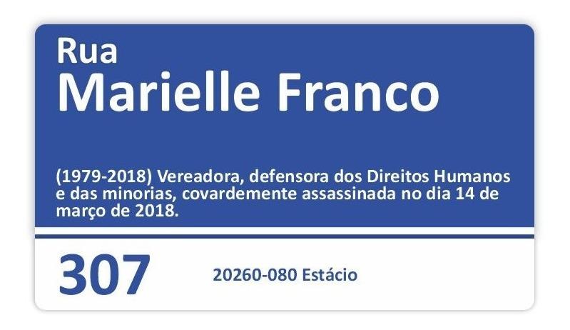 Placa Marielle Franco Rio De Janeiro Brasil 50 X 28cm