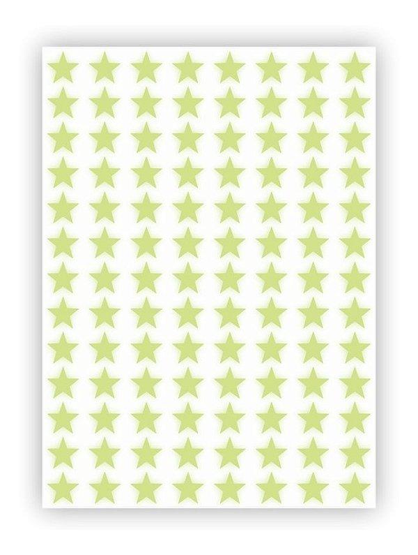 Cartela Etiqueta Adesivo Brilha No Escuro - Estrelas 2cm