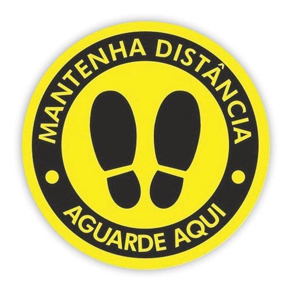 Adesivo Piso Mantenha Distância - Amarelo Modelo 1