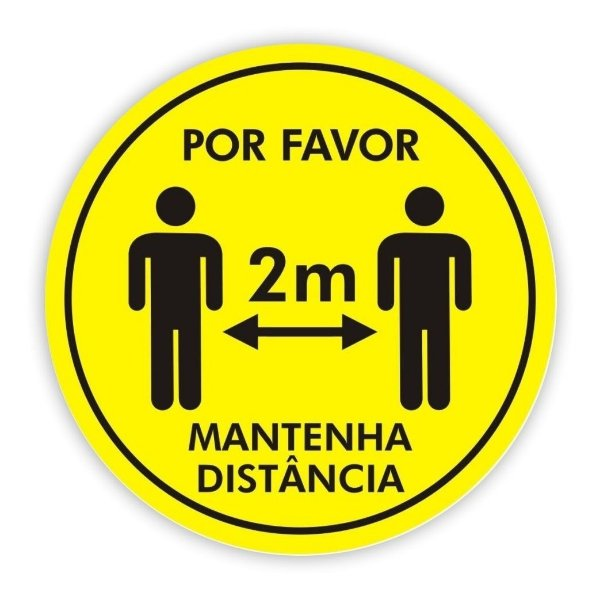 Adesivo Piso Mantenha Distância - Amarelo Modelo 2