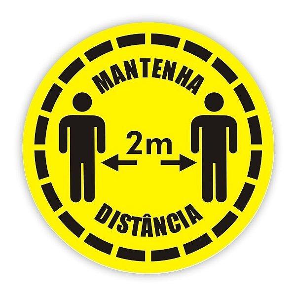 Adesivo Piso Mantenha Distância - Amarelo Modelo 3