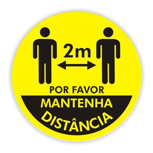 Adesivo Piso Mantenha Distância - Amarelo Modelo 4