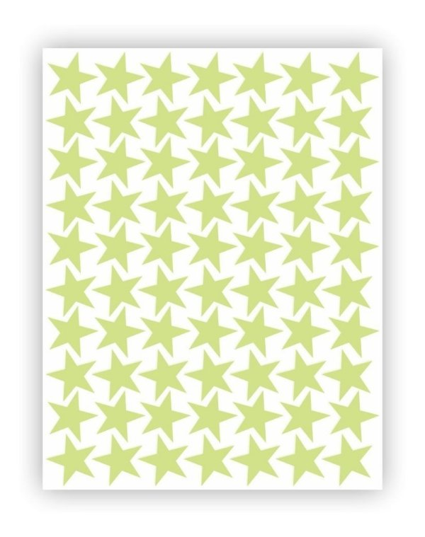 Cartela Etiqueta Adesivo Brilha No Escuro - Estrelas 5cm