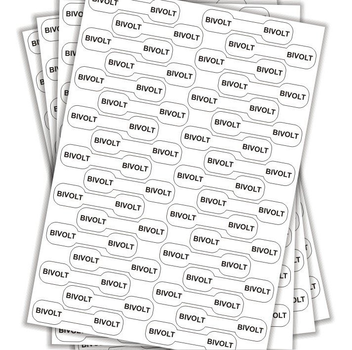 Cartela Etiqueta Adesivo De Voltagem Bivolt Fios E Cabos