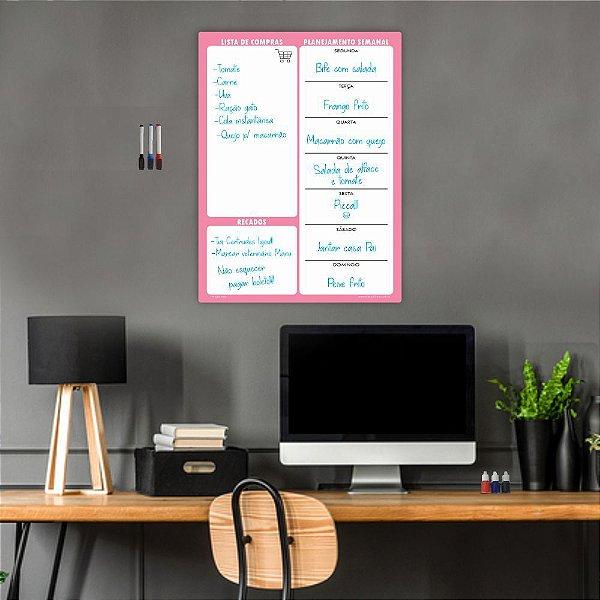 Quadro Planejamento Mensal Planner Diario Tarefas Rosa