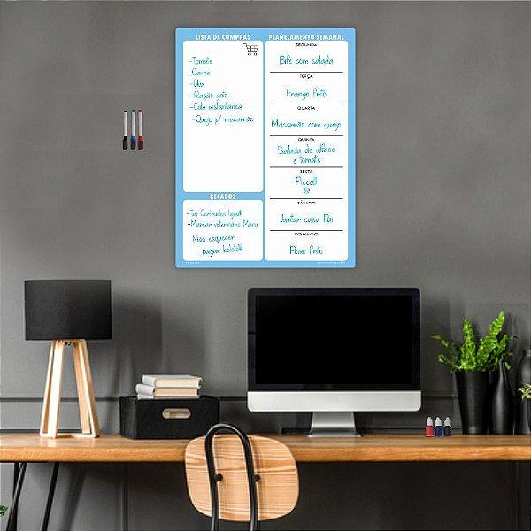 Quadro Planejamento Mensal + 3 Canetas Suporte Azul