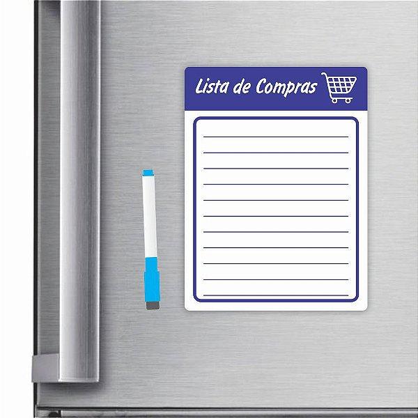 Imã De Geladeira Planner Lista De Compras 20x15cm Azul Escuro
