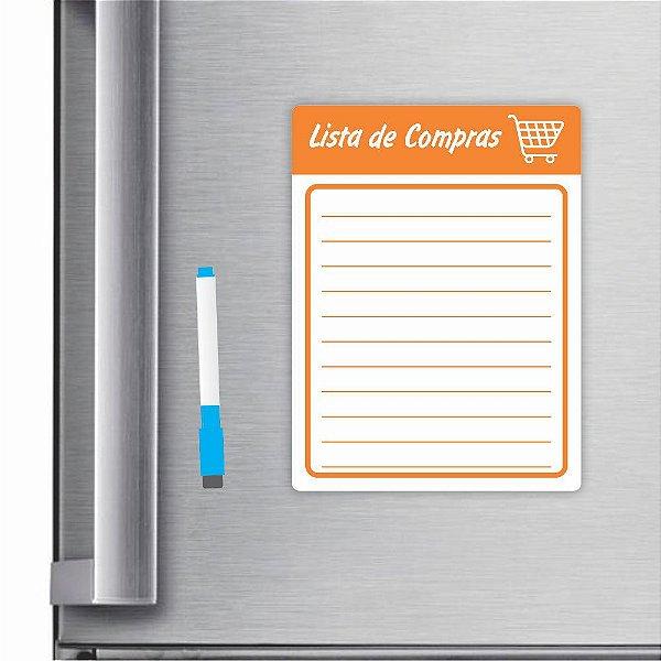 Imã De Geladeira Planner Lista De Compras 20x15cm Laranja