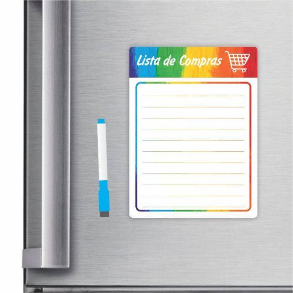 Imã De Geladeira Planner Lista De Compras 20x15cm Rainbow