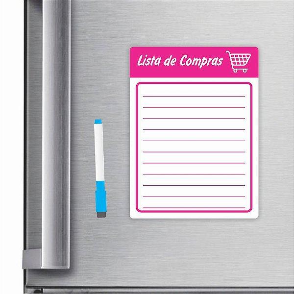 Imã De Geladeira Planner Lista De Compras 20x15cm Rosa