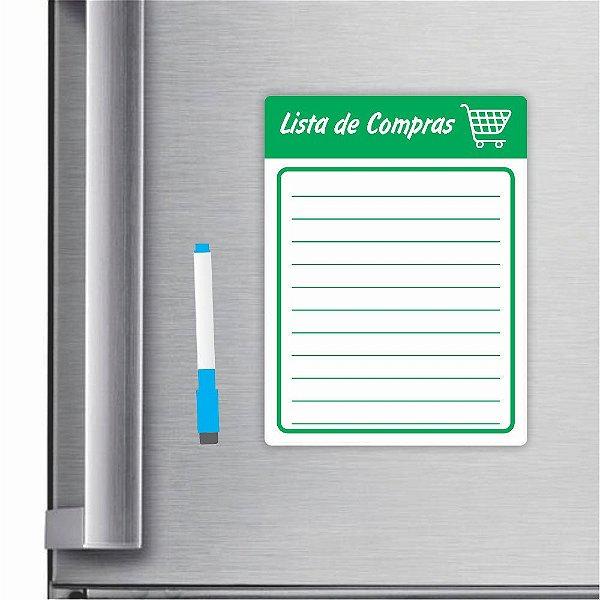 Imã De Geladeira Planner Lista De Compras 20x15cm Verde