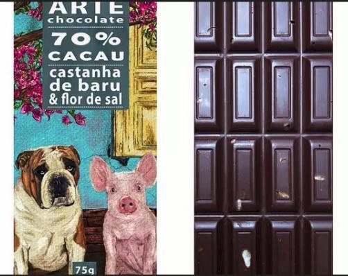 Chocolate 70% cacau com castanha de baru & flor de sal 75g  - Arte Chocolate