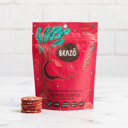 Biscoito proteico de tapioca sabor beterraba picante 30g - Brazô