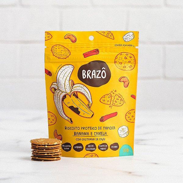 Biscoito proteico de tapioca sabor banana com canela 30g - Brazô