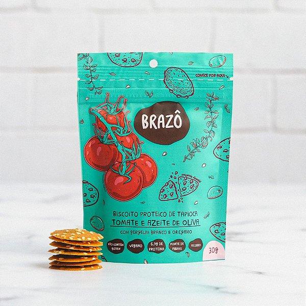 Biscoito proteico sabor tomate com azeite de oliva 30g - Brazô