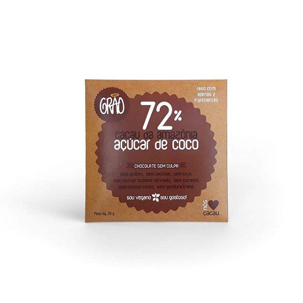 Tablete 72% Cacau, Com Açúcar De Coco 25g - Grão