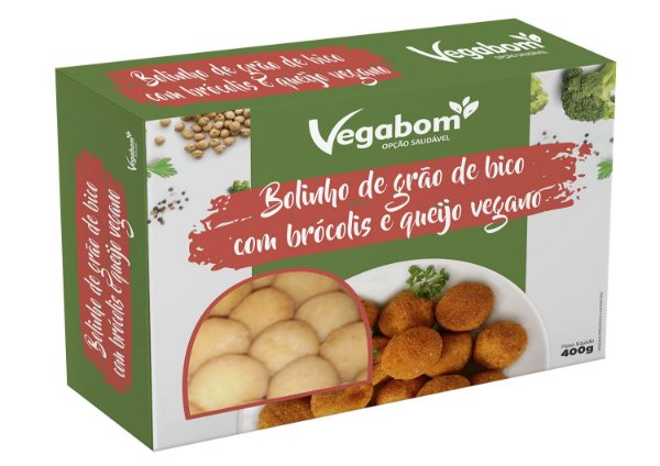 Bolinho De Grão De Bico C/ Brócolis E Queijo Vegano 400g - Vegabom