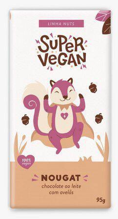 chocolate ao leite com avelãs nougat 95g - Super vegan