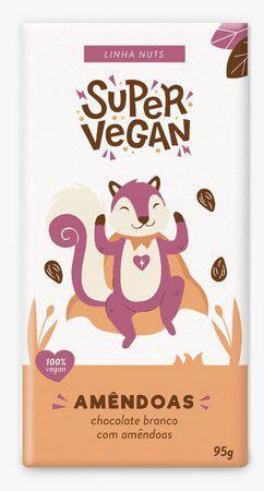 Chocolate branco com amêndoas 95g - Super vegan