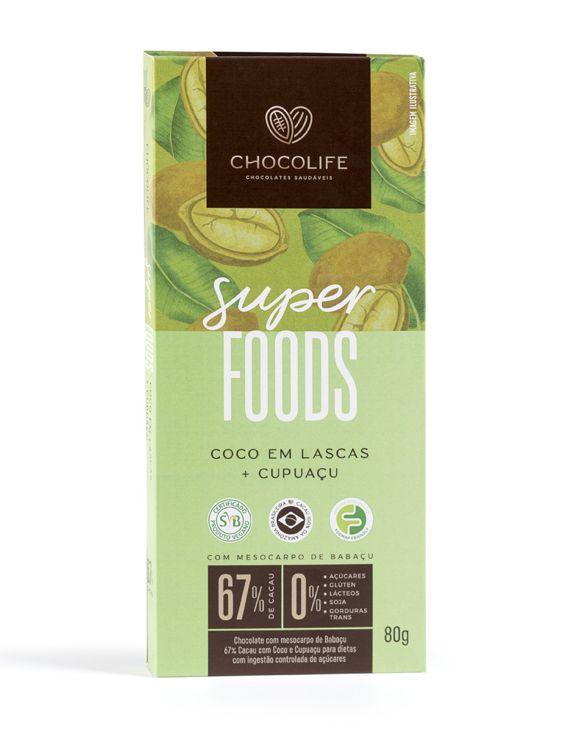 Chocolate Zero Açúcar Amargo 67% Sabor Coco Em Lascas E Cupuaçu 80g - Chocolife