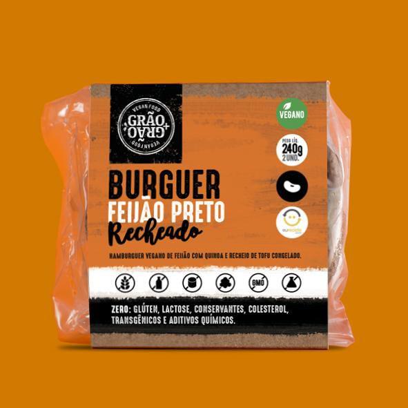 Hamburguer de feijão preto recheado 240g - Grão+Grão
