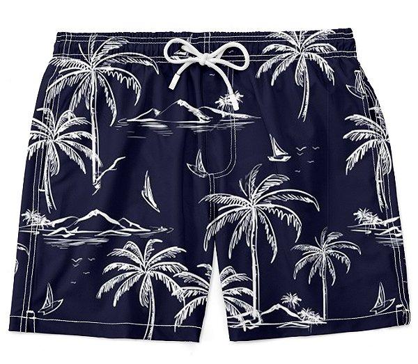 Short bermuda moda praia surf coqueiro lua masculino verão lançamento