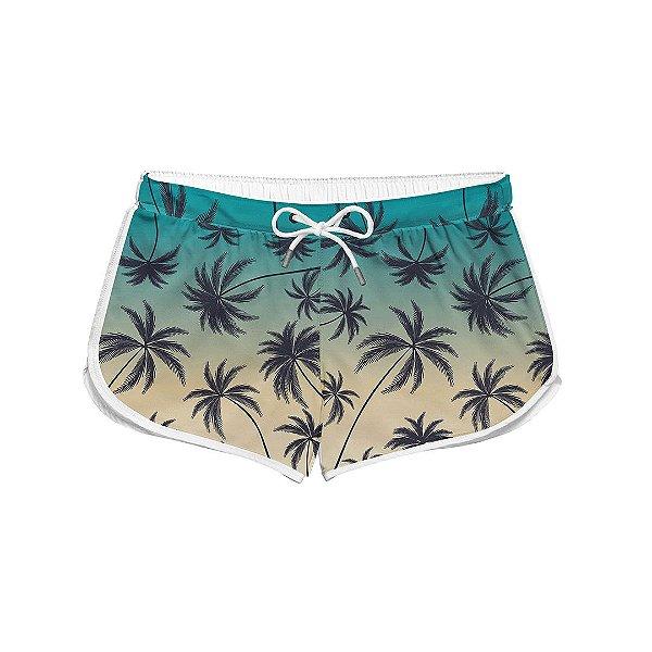 Short Feminino Verão Tropical Coqueiros