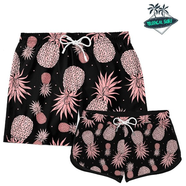 Kit Casal Short Praia Pineapple Golden