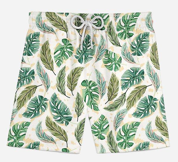 Short Praia Infantil Folhas