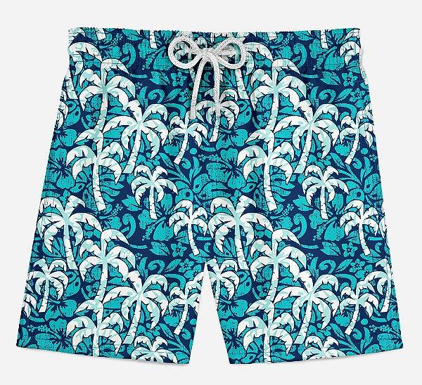 Short Praia Infantil Verão Coqueiros Tropicais