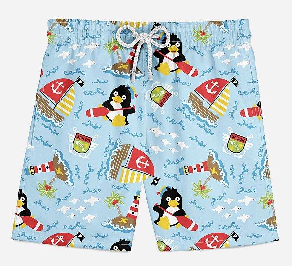 Short Praia Infantil Pinguins Marinheiros
