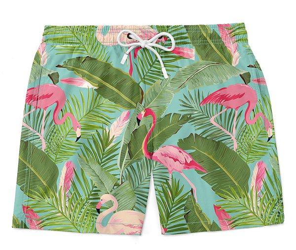 Bermuda Short Praia Verão Flamingos